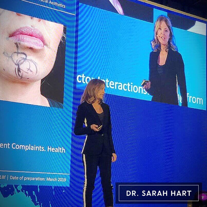 Dr Sarah Hart Presenting cosmetic doctor presenting at conference